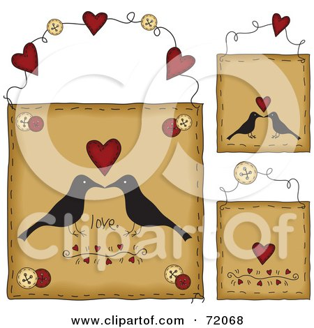 Royalty-Free (RF) Clipart Illustration of a Digital Collage Of Hanging Love Crow Door Signs by inkgraphics