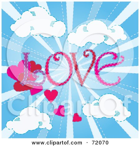 Royalty-Free (RF) Clipart Illustration of The Word LOVE With Hearts In A Shining Blue Sky With Clouds. by inkgraphics