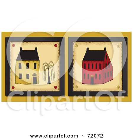 Royalty-Free (RF) Clipart Illustration of Two Yellow And Red Home Tiles by inkgraphics