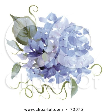 Royalty-Free (RF) Clipart Illustration of Blue Hydrangea Flowers And Leaves by inkgraphics