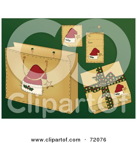 Royalty-Free (RF) Clipart Illustration of a Digital Collage Of Santa Hat Christmas Present Items On Green by inkgraphics