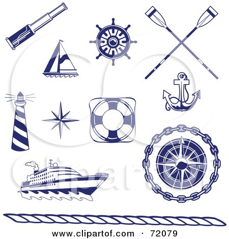 Royalty-Free (RF) Clipart Illustration of a Digital Collage Of Blue And White Nautical Icons by inkgraphics