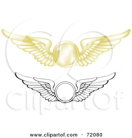 Royalty-Free (RF) Clipart Illustration of a Digital Collage Of Gold And Black And White Pilot Wings by inkgraphics