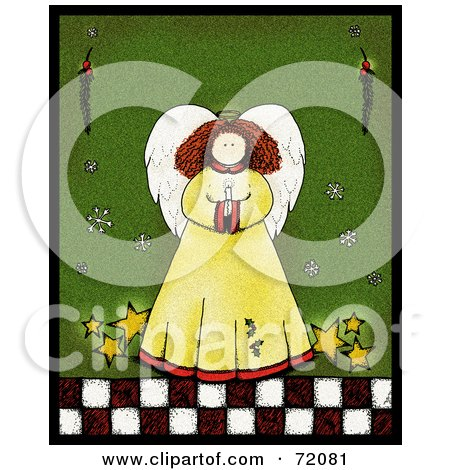 Royalty-Free (RF) Clipart Illustration of an Angel With Stars, Holding A Candle Over Green by inkgraphics