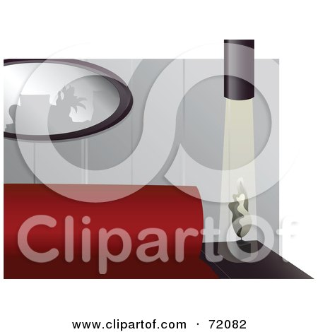 Royalty-Free (RF) Clipart Illustration of a Modern Living Room With A Red Couch And Mirror by inkgraphics