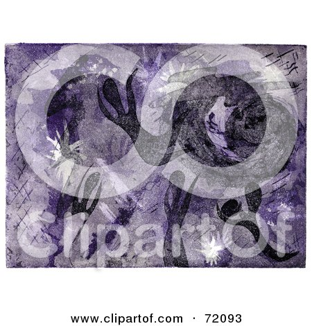 Royalty-Free (RF) Clipart Illustration of an Abstract Purple Background Of People In Heaven by inkgraphics