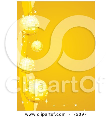 Royalty-Free (RF) Clipart Illustration of a Background Of Golden Sparkly Christmas Baubles Over Yellow by inkgraphics