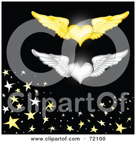 Royalty-Free (RF) Clipart Illustration of Gold And Silver Winged Hearts Over Black With Stars by inkgraphics