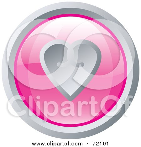 Royalty-Free (RF) Clipart Illustration of a Shiny Round Pink And Silver Heart Website Button by inkgraphics