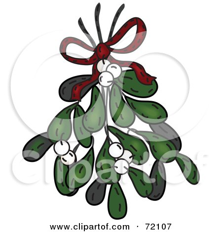 Bundle Of Mistletoe With White Berries And A Red Bow Posters, Art Prints