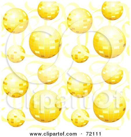 Royalty-Free (RF) Clipart Illustration of a Background Of Golden Disco Balls And Ribbons by inkgraphics