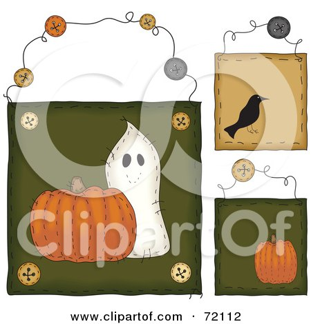 Royalty-Free (RF) Clipart Illustration of a Digital Collage Of Halloween Hanging Door Signs by inkgraphics