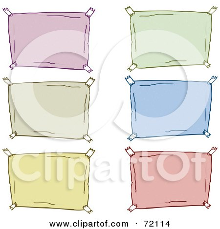 Royalty-Free (RF) Clipart Illustration of a Digital Collage Of Colorful Blank Taped Signs by PlatyPlus Art