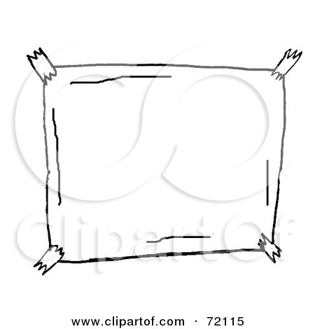 Royalty-Free (RF) Clipart Illustration of a Black And White Sketch Of A Taped Blank Sign by PlatyPlus Art