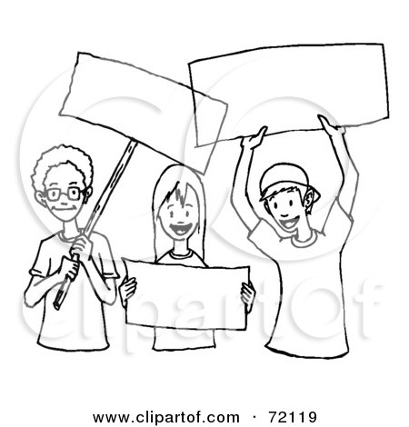 Royalty-Free (RF) Clipart Illustration of a Black And White Outline Of Children Holding Blank Signs by PlatyPlus Art