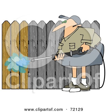 Royalty-Free (RF) Clipart Illustration of a Man Pressure Washing A Wood Fence To Remove The Silvery Color by djart