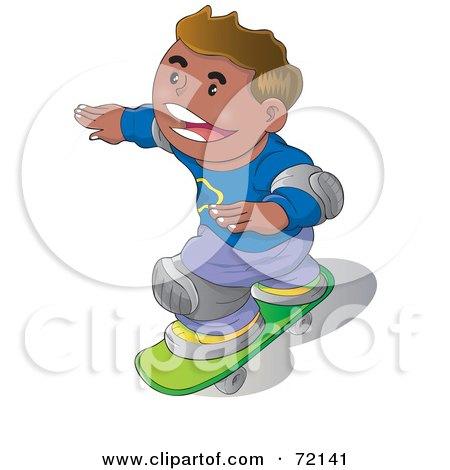 Royalty-Free (RF) Clipart Illustration of a Happy Hispanic Boy Wearing Knee Pads And Skateboarding by YUHAIZAN YUNUS