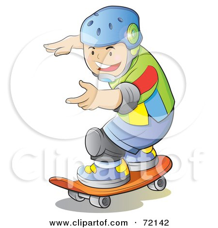 Royalty-Free (RF) Clipart Illustration of a Caucasian Boy Wearing A Helmet And Skateboarding by YUHAIZAN YUNUS
