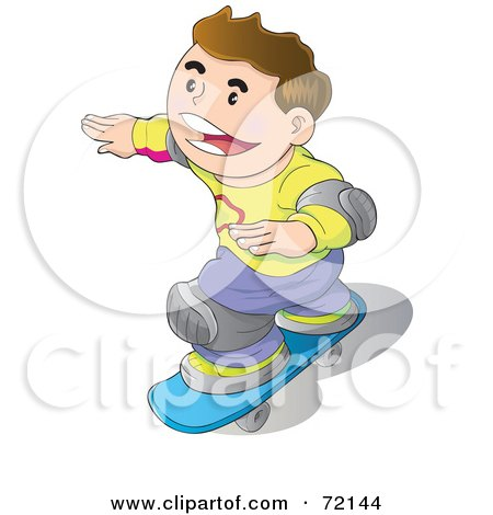 Royalty-Free (RF) Clipart Illustration of a Happy Caucasian Boy Wearing Knee Pads And Skateboarding by YUHAIZAN YUNUS
