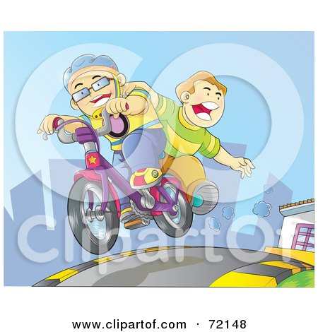 Royalty-Free (RF) Clipart Illustration of Two Boys Riding On A Bicycle Down A City Street by YUHAIZAN YUNUS