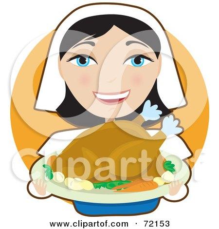 Royalty-Free (RF) Clipart Illustration of a Pretty Female Pilgrim Presenting A Turkey On A Tray by Maria Bell