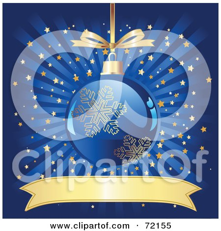 Royalty free rf clipart illustration of a christmas for Blue and gold christmas