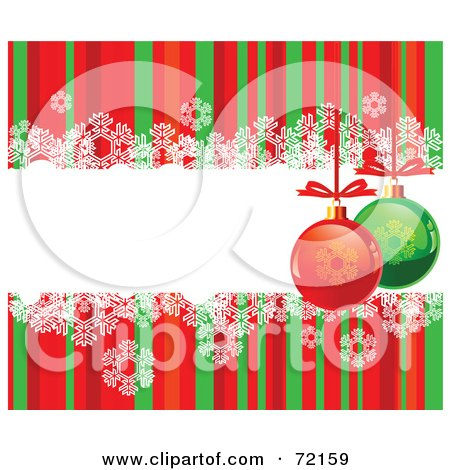 Royalty-Free (RF) Clipart Illustration of a Red And Green Striped Background With Snowflakes And Baubles Around A Text Box by Pushkin