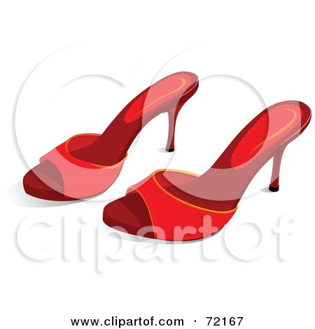 Royalty-Free (RF) Clipart Illustration of a Pair Of Red Sandal Heels by Pushkin