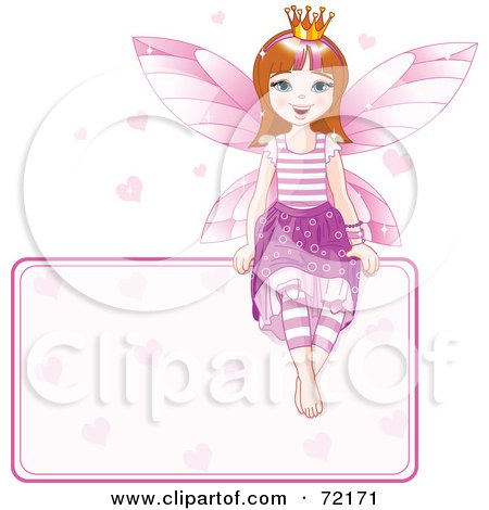 Brunette Fairy Princess With Hearts, Sitting On A Blank Sign Posters, Art Prints