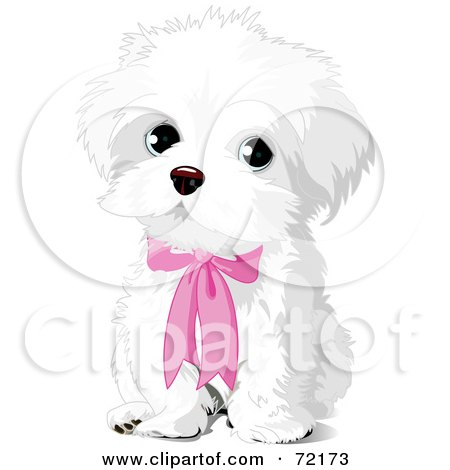 Royalty-Free (RF) Clipart Illustration of a Cute White Puppy Dog Wearing A Pink Bow by Pushkin