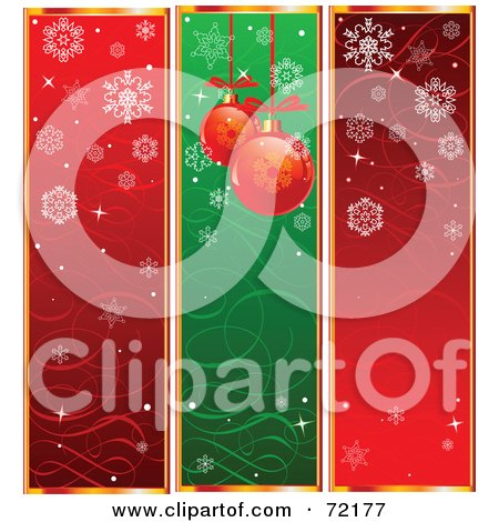 Royalty-Free (RF) Clipart Illustration of a Digital Collage Of Red And Green Snowflake And Christmas Ornament Banners by Pushkin