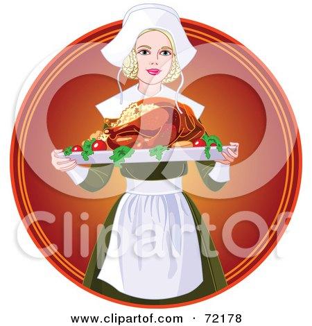 Beautiful Blond Pilgrim Serving A Thanksgiving Turkey Posters, Art Prints