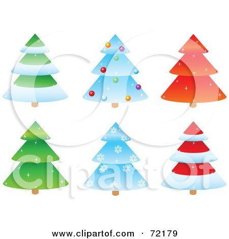 Royalty-Free (RF) Clipart Illustration of a Digital Collage Of Six Sparkly Tiered Christmas Trees by Pushkin
