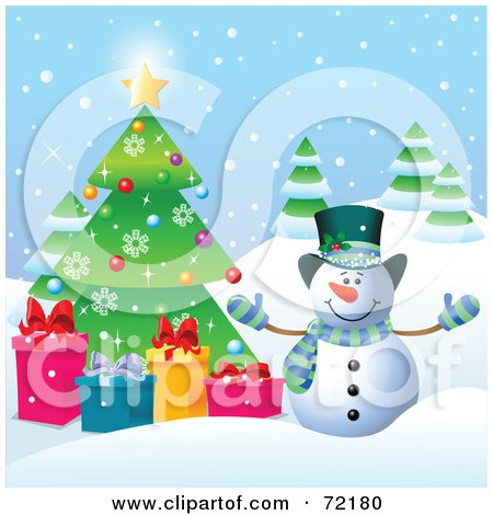 Royalty-Free (RF) Clipart Illustration of a Festive Snowman With Presents By A Christmas Tree Outside by Pushkin