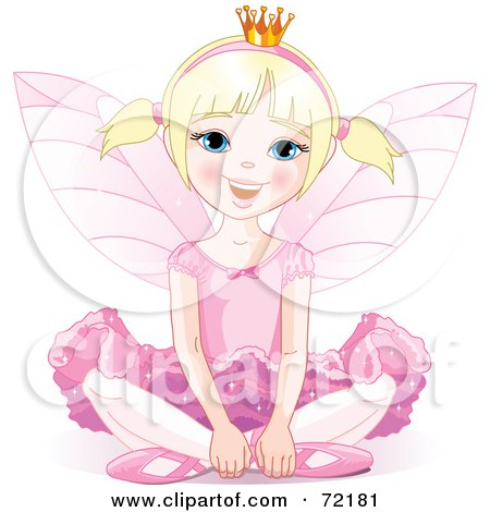 Royalty-Free (RF) Clipart Illustration of a Blond Fairy Princess In Pink, Sitting On The Ground by Pushkin