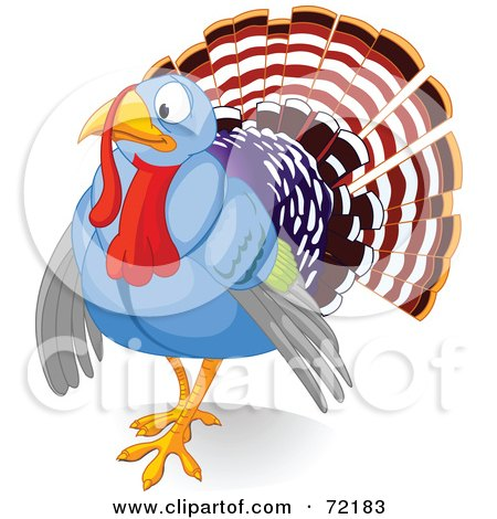 Royalty-Free (RF) Clipart Illustration of a Nervous Blue Turkey Bird by Pushkin