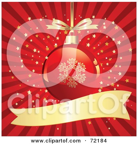 Red And Gold Snowflake Christmas Ornament Over A Bursting Starry Background With A Blank Banner Posters, Art Prints