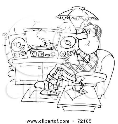 Royalty-Free (RF) Clipart Illustration of a Black And White Sketched Man Relaxing And Listening To Records At Home by Alex Bannykh