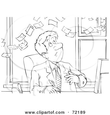 Royalty-Free (RF) Clipart Illustration of a Black And White Sketched Businessman Watching Money Fly Over His Head by Alex Bannykh