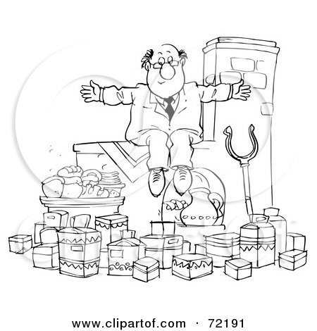 Royalty-Free (RF) Clipart Illustration of a Black And White Sketched Businessman Sitting On A Ledge Over Food by Alex Bannykh