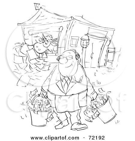 Royalty-Free (RF) Clipart Illustration of a Black And White Sketched Businessman Feeding Papers To His Cow And Carrying Buckets Of Money by Alex Bannykh