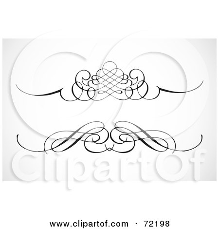 Royalty-Free (RF) Clipart Illustration of a Digital Collage Of Two Ornamental Black Divider Designs by BestVector