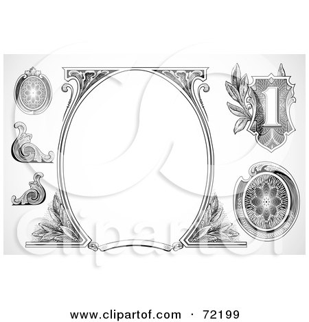Royalty-Free (RF) Clipart Illustration of a Digital Collage Of Black And White Money Element Designs by BestVector