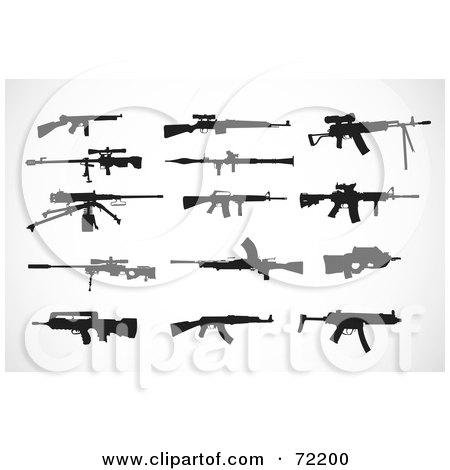 Royalty-Free (RF) Clipart Illustration of a Digital Collage Of Firearm Silhouettes In Black by BestVector