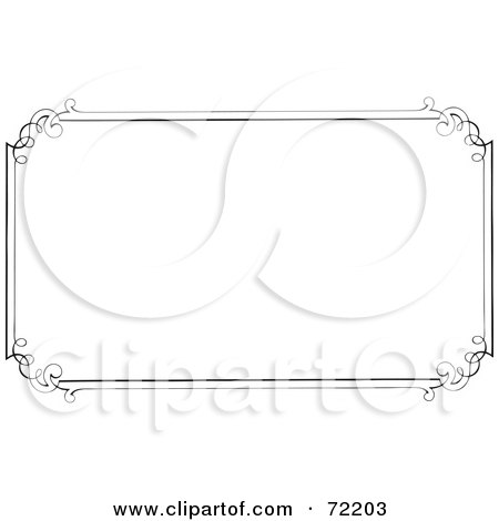 Royalty-Free (RF) Clipart Illustration of a Simple Border Frame With Elegant Designed Corners On White by BestVector