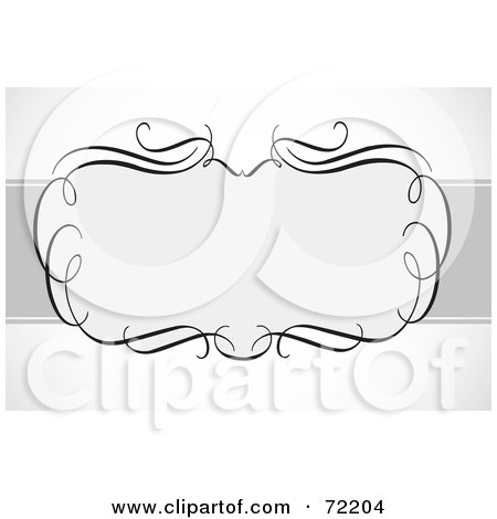 Royalty-Free (RF) Clipart Illustration of a Blank Frame Of Swirls Over A Gray Bar On Shaded White by BestVector