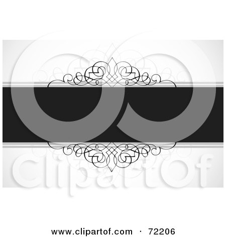 Royalty-Free (RF) Clipart Illustration of a Dark Gray Text Bar With Ornamental Designs Over Shaded White by BestVector
