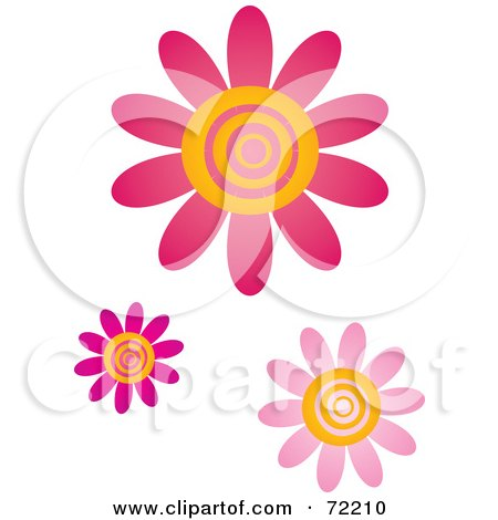 Royalty-Free (RF) Clipart Illustration of Pink And Yellow Swirly Center Flowers by Rosie Piter