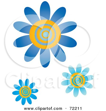 Royalty-Free (RF) Clipart Illustration of Blue And Yellow Swirly Center Flowers by Rosie Piter