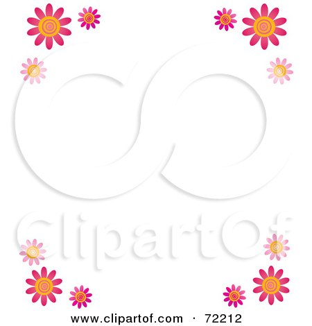 Royalty-Free (RF) Clipart Illustration of a White Background With Pink Daisy Flower Corners by Rosie Piter